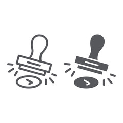 Approval stamp line and glyph icon, allow and stamper, rubber stamp sign, vector graphics, a linear pattern on a white background.