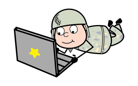 Working on Laptop - Cute Army Man Cartoon Soldier Vector Illustration