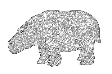 Art for coloring book page with cartoon behemoth
