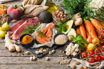 Healthy food for balanced flexitarian mediterranean diet concept