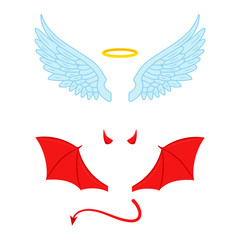 Angel and devil wings illustration. Vector. Isolated.