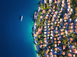 Dudrovnik, Croatia. Aerial view at the town. Vacation and adventure. Town and sea. Top view from drone at on the houses and azure sea. Travel - image