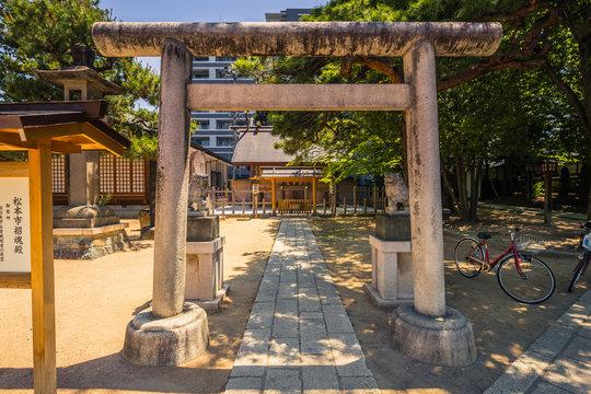 Matsumoto - May 25, 2019: Entrance to Shinto shrine in Matsumoto, Japan