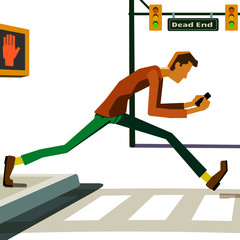 Smartphone texter walking into traffic.