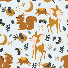 seamless pattern with baby deer bird squirrel - vector illustration, eps