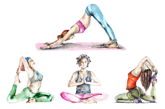 Set of watercolor yoga poses and trace into vector