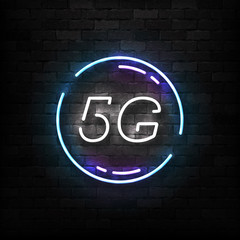 Vector realistic isolated neon sign of 5G logo for template decoration and wallpaper covering on the wall background. Concept of network technology.