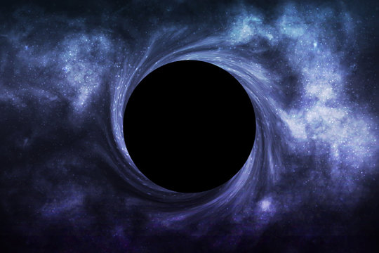 Vector realistic isolated Black Hole in space background for template decoration and wallpaper covering. Concept of universe and wormhole.