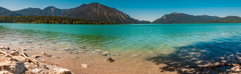 High resolution stitched panorama of beautiful alpine view at the famous Walchensee - Bavaria - Germany