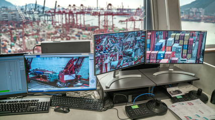 Obraz Logistic Control Tower In Hong Kong On October 12, 2019 - fototapety do salonu
