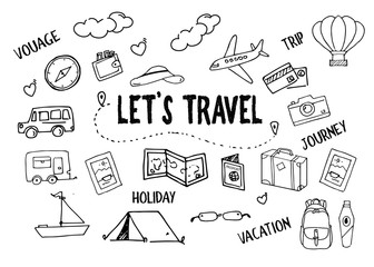 Hand drawn travel theme doodle vector collection