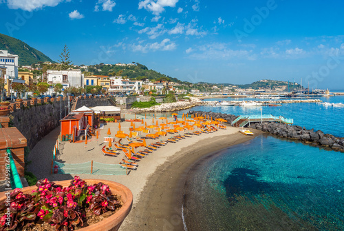 Wall mural Landscape with Casamicciola beach, coast of ischia, italy