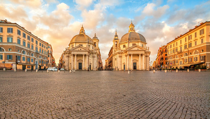 Piazza del Popolo (People's Square), Rome, Italy. Churches of Santa Maria in Montesanto and Santa Maria dei Miracoli. Rome architecture and landmark. Wall mural