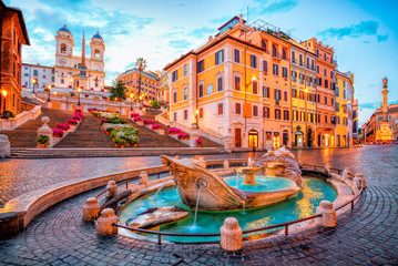 Foto op Textielframe Rome Piazza de Spagna in Rome, italy. Spanish steps in the morning. Rome architecture and landmark.