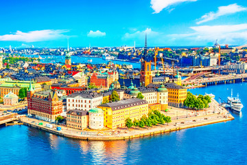 Türaufkleber Stockholm Beautiful aerial view of Stockholm Old town Gamla Stan from the City Hall Stadshuset. Beautiful summer sunny day in Stockholm, Sweden.
