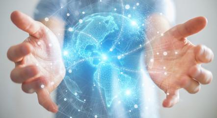 Businessman using America Usa map globe network hologram 3D rendering