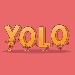YOLO letter characters vector illustration. Letter, generation, social media, invitation design concept