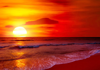 Aluminium Prints Magenta Fantastic sunset over ocean