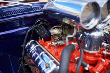 Chrome supercharger and engine, on an old car Wall mural