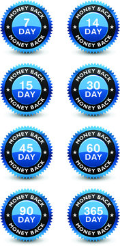 Excellent blue colored money back guaranteed seal, badge set isolated on white background.