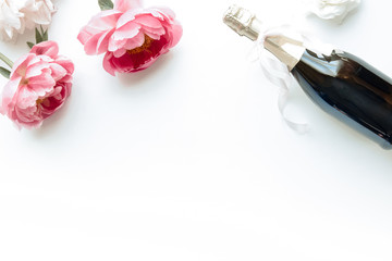 Styled flatlay - peonies & champagne