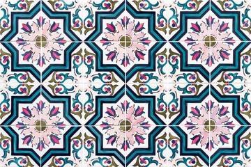 Detail of traditional portuguese tiles. Detail of traditional tiles from the facade of an old house in Porto, Portugal. Traditional Portugal pottery. Seamless pattern with Portuguese tiles. Multicolor