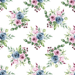 Seamless pattern with watercolor flowers roses, repeat floral background hand drawing. Perfectly for wallpaper, fabric, texture and other printing.