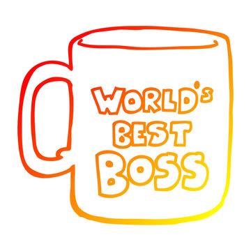 warm gradient line drawing worlds best boss mug