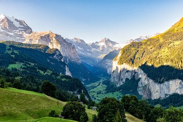 Switzerland Sunrise Spectacular View - Lauterbrunnen seen from Wengen