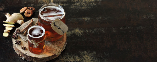 Fermented healthy drink kombucha. Probiotics.