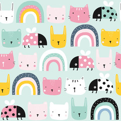 Childish seamless pattern with animals and rainbow. Kids pastel textile print. Vector hand drawn illustration.