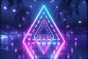 80's Abstract retro futuristic background. Beautiful 3d illustration with ultraviolet neon triangle modern lights. Retro wave stylization. Flying in space with particles and palm trees