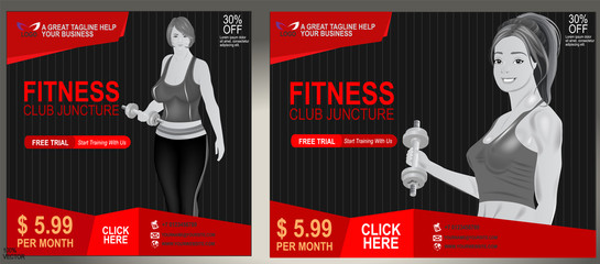 Set of fitness or gym web banners or flyers design template. Flyer, poster - cover sport, health and fitness. Sport Banner template suitable for any fitness or sport related businesses