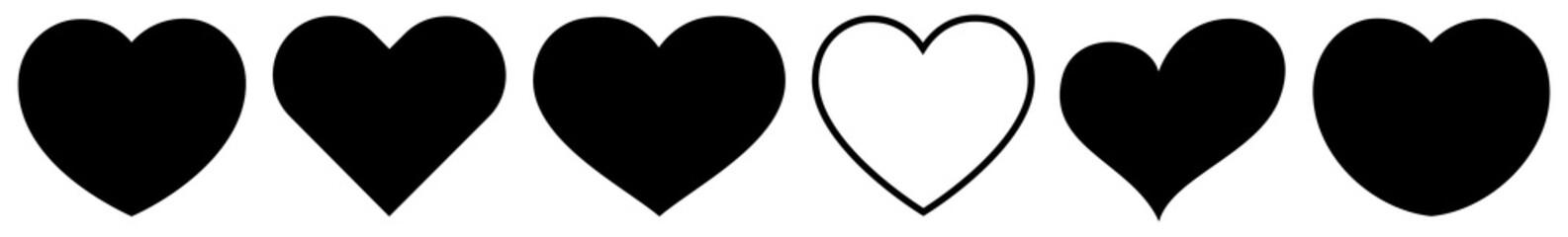 Heart Black | Love | Logo | Variations Wall mural