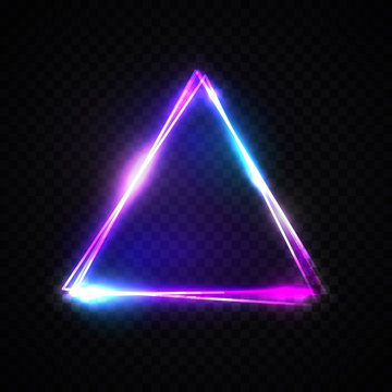 Neon abstract triangle on transparent background. Glowing frame. Vintage electric symbol. Burning pointer. Club, bar or cafe design element for your ad sign, poster, banner. Bright vector illustration