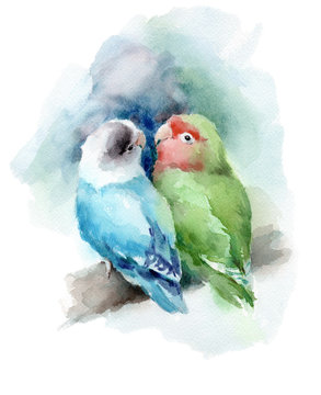 Lovebirds Couple sitting on the branch Green Blue Watercolor Bird Illustration