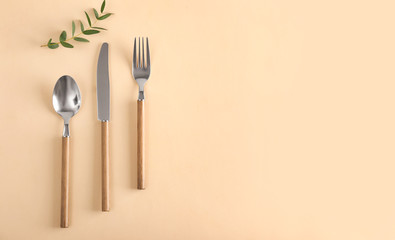 Silver cutlery on color background