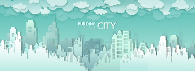 Wall Mural - Vector modern city buildings skyline of downtown.