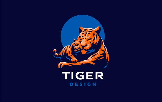 A tigress with a tiger cub
