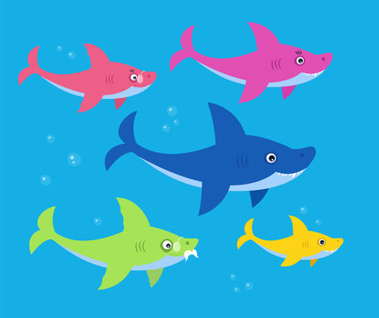 The family shark bright children illustration. Art for kids books. Mommy, daddy, grandma and granddaddy sharks family.