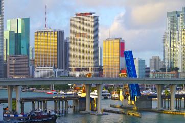 Miami Downtown with Port Boulevard Bridge to Dodge Island and marina