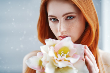 girl with bright flower