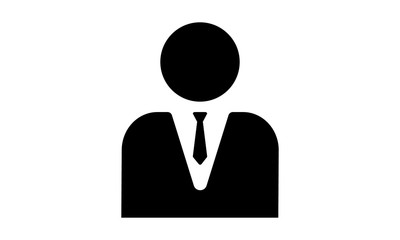 Male Manager icon. Vector style is flat iconic symbol with black color, white background.