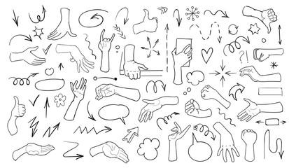 Fotobehang Babykamer Set of arrow doodle on white background. Hand drawn doodle realistic hands. Vector illustration