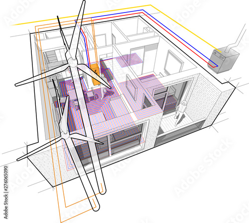 Apartment diagram with floor heating and gas water boiler ... on