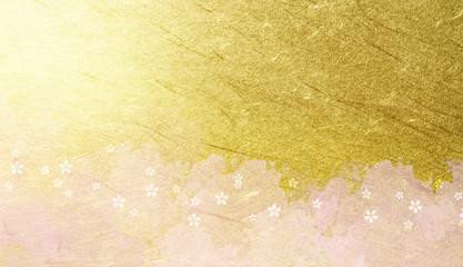 Wall Mural - 桜のパターン(背景は金色の和紙と水彩のテクスチュア)
