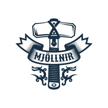 Viking Mjollnir logo. Hammer Thor emblem. Vector retro illustration.