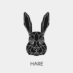 Geometric rabbit. Polygonal head of animal. Black silhouette. Vector illustration.
