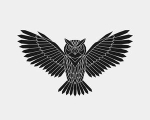Canvas Prints Owls cartoon Geometric owl. Polygonal animal. Black silhouette. Vector illustration.