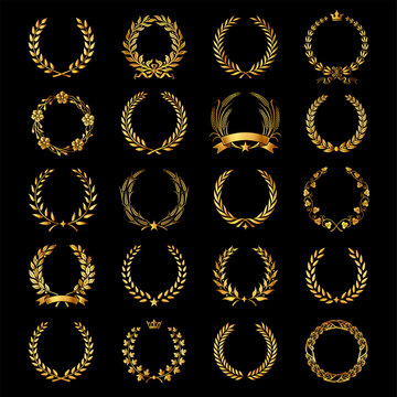 Set of vector golden laurel wreaths..
